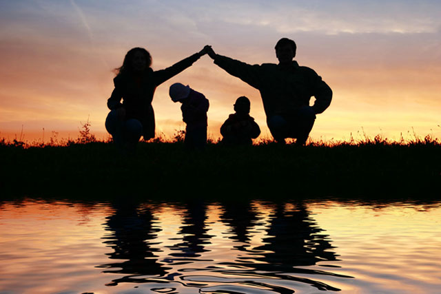 Family Therapy, Family in sunset