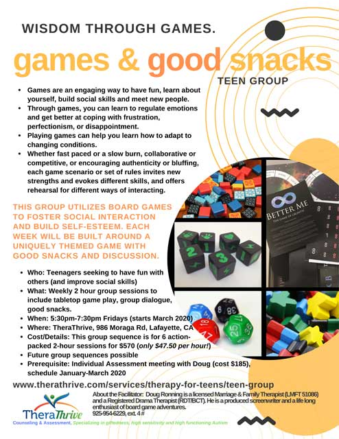 games group at TheraThrive for teens, social skills, communication