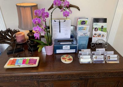 TheraThrive's waiting room tea table in Lafayette, California (counseling and consultation)